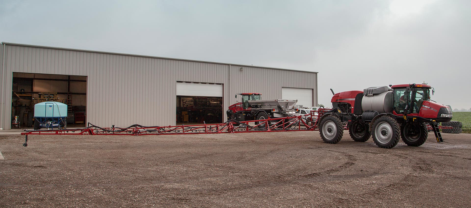 Case IH tractor with sprayer